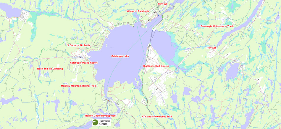 Barrett Chute Waterfront Lots Regional Map Barrett Chute